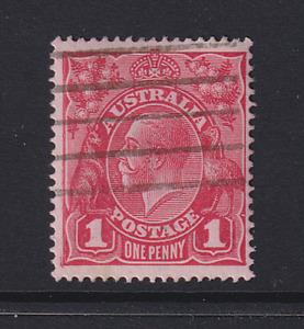 AUSTRALIA  1914: 1d red KGV variety FLAW IN FRAME NEAR EMU BW 71(3)r cv $30