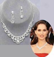 Celebrity Inspired Crystal Tennis Statement Necklace Earrings Party Jewelry Set