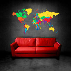 Full Color Wall Decal Sticker World Map Watercolor Water Paintings (Col480)