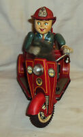 VINTAGE NOMURA TIN JAPAN FIRE TRICYCLE  FD NO.3 FIRE DEPT TINPLATE TOY 1950
