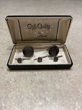 Vintage Anson Gray And Silver Cufflinks and Three Shirt Studs in Original Box