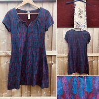 MISTRAL Navy Blue & Wine Feather Print Cotton Dress Autumn Size 10 Tunic