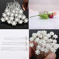 Sale 20Pcs Wedding Bridal Pearl Flower Crystal Hair Pins Clips Bridesmaid