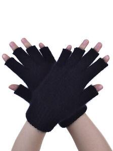 New Zealand Possum Fur Merino Wool Knitwear Open Fingerless Gloves