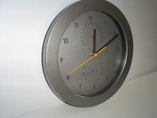 """Greenwich Indoor Thermometer and Humidity Wall Clock, 9.75"""" Silver"""