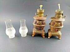 Vintage Ceramic Belly Wood Stove Small Oil Lamp Set of 2