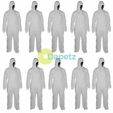 """10 Disposable Paper Suit Protective Overall Coveralls XXL 146cm 58"""" New"""