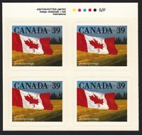 FLAG over PRAIRIE = Canada 1990 #1192 = MNH BLOCK of 4 w/COLOR ID, from BKLT