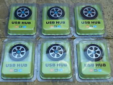 JOB LOT 6 PC USB 2.0 4 PORT HUB BRAND NEW! CAR WHEEL SHAPED Windows Mac Computer