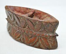 Original Antique Wooden Spice Bowl Hard Wood Hand Carved Kitchenware