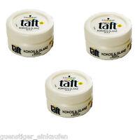 (49,73€/L) 3x 75ml Schwarzkopf Taft Kokos & Glanz Wax Kokosduft Haare Styling