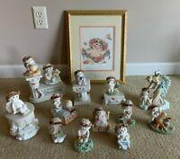 DREAMSICLES CHERUB & Asst. Figurines LOT of 18 by Kristin & Framed Cross Stitch