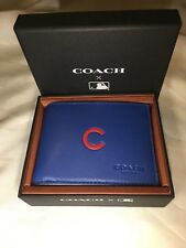 Coach MLB Men Chicago Cubs Slim Bill Compact Sport Calf Leather Wallet 75435