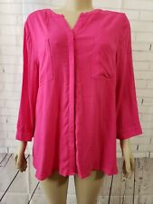 Chico's Pink Sheer Button Front Blouse Shirt Size 2  Long Sleeve Rayon NWOT