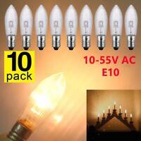 10Stk LED 0,2W E10 10-55V Topkerzen Riffelkerzen Spitzkerzen Ersatz Lichterkette