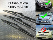 Front Rear Wiper Blades Fits Nissan Micra 2005 2006 2007 2008 2009 2010