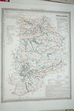 77 Seine et Marne carte gravure Dufour et Duvotenay 1860 (75-7)