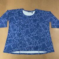 Isaac Mizrahi Live! Women's Plus Size 1X TRUE DENIM Floral Print Seamed Knit Top