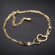 Pulseras Gold-color Chain Women Charm Crystal Bracelet 1PC Heart Shaped Love