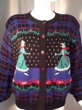 Vintage Braunstyle Winter Sweater Cardigan Skaters Plaid Cute Sz M
