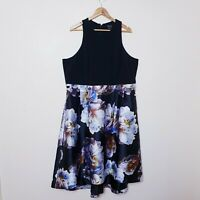 City Chic Plus Size XL Black Floral Fit And Flare Dress