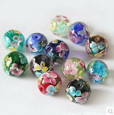 Pretty 10pcs Mixed Glass Rose Flower Inside Lampwork Beads Spacer 14mm