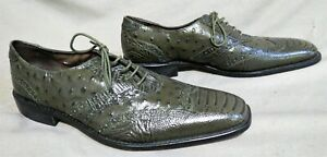 MENS STACY ADAMS FOREST GREEN LEATHER LIZARD DRESS CHUKKA SHOES 11.5 M