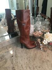 MISS SIXTY Tan Brown Leather Tall High Heel Knee Boots size 38 M - US 7.5 - 8