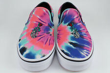 c9a06b91ef3f41 VANS CLASSIC SLIP-ON TIE DYE MULTI PINK BLUE WHITE SKELETON HAND