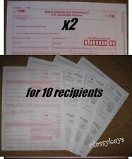 2016 IRS Tax Form 1099-MISC 4-pt Laser/Inkjet for 10 recipients +  2 Form 1096