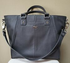 Thirty-One 31 Jewell Pebbled Tote Purse Charcoal Gray with Snap In Pocket EUC!