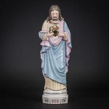 "Sacred Heart of Jesus Statue | Christ Figure | Antique Porcelain Figurine | 13"""