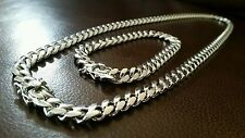 "26"" 925 RHODIUM SILVER MENS CUBAN LINK NECKLACE & 9"" BRACELET 9.7mm 226 grams"