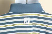 FootJoy Men's blue, gray and yellow striped short sleeve golf polo shirt Medium