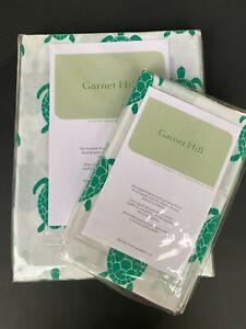 Garnet Hill Twin Flat Sheet & Pillow Cases Green Sea Turtle Hawaii Cotton Sateen