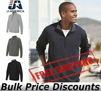 J. America Mens Omega Stretch Quarter-Zip Pullover Sweatshirt 8434 up to 3XL