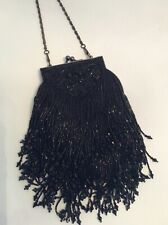 "VICTORIAN CHICO'S BLACK BEADED HAND BAG 9"" Long"