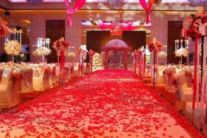 100PCS RED SILK ROSE PETALS FLOWER CONFETTI WEDDING ENGAGEMENT DECORATION G0A T