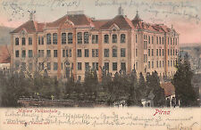 Pirna Mittlere Volksschule Postkarte 1902