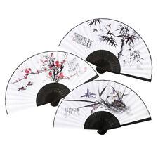 Korean Traditional Black Line Bamboo Folding Hand Fan + Paper Case Gift Medium