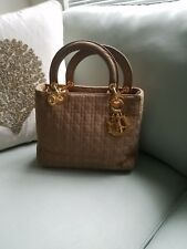 Christian Dior medium Lady Dior light Brown Fabric Bag Gold Hardware