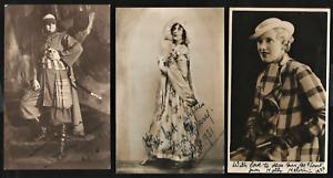 THREE RARE SIGNED & DATED 1930's PHOTOGRAPHS. 1930. 1931 & 1936. BRITISH THEATER