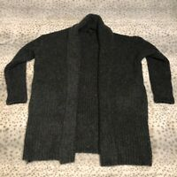 J Crew Ribbed Shaw Cardigan Size XXS XS Long Open Front Gray Chunky Wool Blend