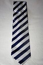 Original Nylon 70er Jahre Vintage Retro Schlips Binder Krawatte Blau Weiß Breit