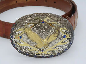 CRUMRINE GOLD SILVER EP AMERICAN STYLE EAGLE BELT BUCKLE GENUINE CROCODILE BELT