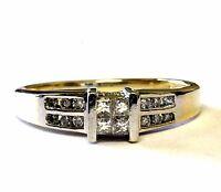 14k yellow gold .22ct invisable princess diamond engagement ring 2.9g estate