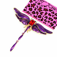 Betsey Johnson Women's Enamel Crystal Cute Dragonfly Animal Brooch Pin Gift