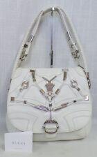 Authentic Gucci White Techno Horsebit Large Shoulder Flap Bag $2,800