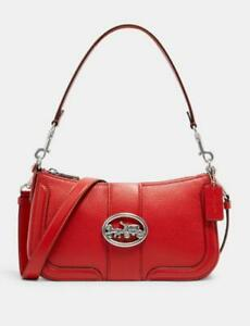 NWT Coach Red Georgie Baguette Shoulder Crossbody Leather Bag 5500 - New $328