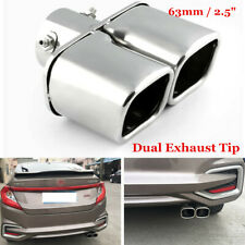 """63mm / 2.5"""" Chrome Car Stainless Steel Exhaust Tail Pipes Muffler Tips Newest"""